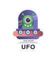 ufo logo original design badge with flying saucer vector image vector image
