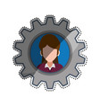 woman faceless gear frame portrait vector image vector image