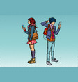 young man and girl teen couple with smartphones vector image