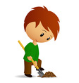 young man working digger with spade vector image