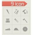 black carpentry icons set vector image