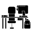 office desk with computer and chair icon vector image