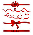 ribbon banner symbol set red bow vector image