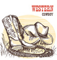 American cowboy boots and west hat vector image