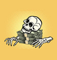 skeleton skull dollar money wealth and greed vector image