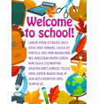 back to school stationery education poster vector image vector image