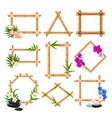 bamboo frame set wooden blank template collection vector image