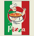 banner with italian flag pizza and winking chef vector image