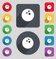 Bowling game ball icon sign A set of 12 colored vector image vector image