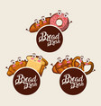 bread fresh kawaii set food croissant donut vector image vector image