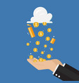 businessman hand receiving money rain from cloud vector image vector image
