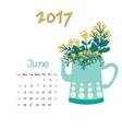 Calendar June 2017 Template Week starts vector image vector image