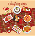 christmas delicious traditional food on a table vector image vector image