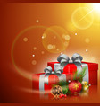 christmas red gift box with balls and pine cones vector image