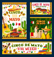 cinco de mayo mexican fiesta party poster design vector image vector image