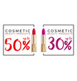 cosmetics sale banner with lipstick fashion sale vector image vector image