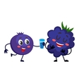 Cute and funny blueberry character offering drink vector image vector image