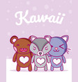 cute animals kawaii cartoons vector image