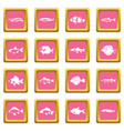 cute fish icons pink vector image