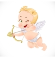 Cute little cupid shoots a bow isolated on a white vector image vector image