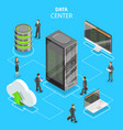 data center flat isometric concept vector image vector image