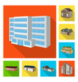 design facade and housing icon set of vector image