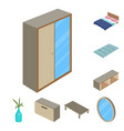 design of bedroom and room icon set of vector image