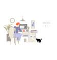 designer works remotely home office concept vector image
