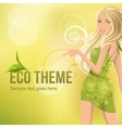 eco background with beautiful blond vector image