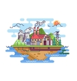 Factory plant on island vector image vector image