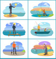 fishing set of people at beach vector image vector image