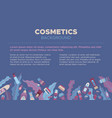 flat cosmetics blue background vector image vector image