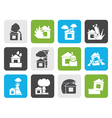 Flat home and house insurance and risk icons vector image