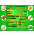 Game labyrinth find a way animals to food vector image vector image