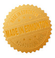 golden made in edmonton award stamp vector image vector image