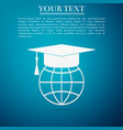 graduation cap on globe icon on blue background vector image