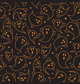 halloween ghost seamless pattern on black vector image vector image