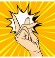 hand drawn pop art of hand Hand gesture a snap of vector image vector image