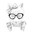 hand drawn portrait funny fox with accessories vector image vector image