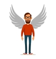 hipster businessman with wings angel in flat vector image