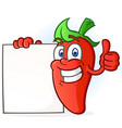 hot pepper cartoon character holding a blank sign vector image vector image