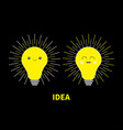 idea light bulb icon set with happy smiling face vector image