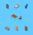 isometric design set of bedstead office vector image vector image