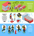 isometric firefighter banners vector image vector image