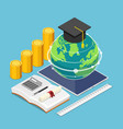 isometric world and graduation cap on digital vector image vector image