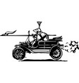 jousting knight in a car vector image vector image