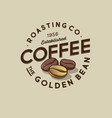 label golden coffee bean emblem roasted vector image vector image