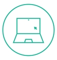 Laptop with cursor line icon vector image