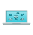 Laptop with Email Icons on Screen vector image vector image