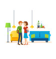 loving couple in room on valentines day vector image vector image